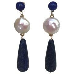 Marina J. Lapis Lazuli Stud and Teardrop with Pearl Coin and 14 Karat Gold