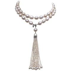 Marina J. Long Pearl Sautoir with Diamond Pearl Tassel and 14K White Gold Clasp