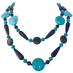Marina J. Long Turqouise, Lapis Lazuli, Appatite and Gold-Plated Beaded Necklace