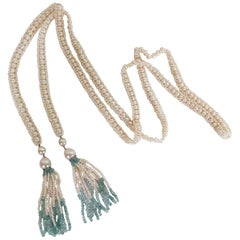 Marina J Long Woven Pearl Sautoir with Pearl and Aquamarine Tassels and 14k Gold