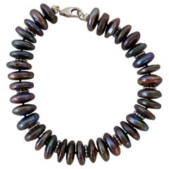 Marina J. Men's / Unisex Black Pearl and Silver Rhodium-Plated Roundale Bracelet