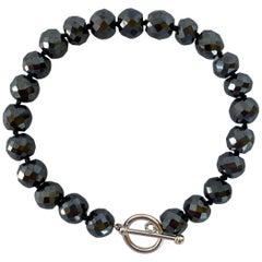 Marina J. Men's / Unisex Black Spinel Bracelet with Toggle Clasp