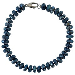 Marina J. Men's / Unisex Labradorite Beaded Bracelet with 14K White Gold Clasp
