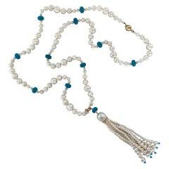 Marina J. Multi Graduated Pearl Sautoir with Turquoise, Tassel and 14k Gold