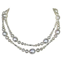 Marina J Multi-Graduated White Pearl Long Necklace with White Gold Clasp & Beads