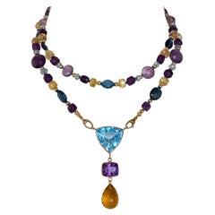 Marina J. Multi Jewel & 14K Sautoir with Topaz, Amethyst & Citrine Drop Tassel
