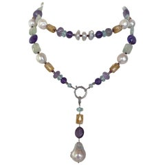Marina J. Multi Jewel and Pearl Sautoir with Drop Tassel and 14k White Gold