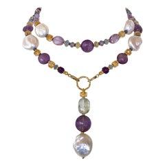 Marina J. Multi Jewel & Pearl Sautoir with Drop Tassel and 14K Yellow Gold