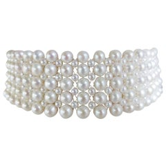Marina J Multi-Strand Woven Pearl Choker with 14k white or yellow gold clasp