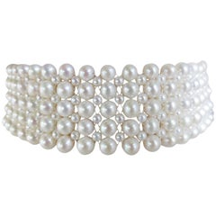 Marina J Multi-Strand Woven Pearl Choker with Sterling Silver sliding Clasp