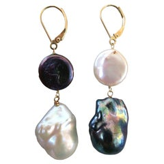 Marina J. Natural Shaped Black and White Pearl Earrings with 14K Yellow Gold