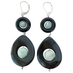 Marina J. Onyx and Jade Drop Earrings with 14 Karat White Gold Lever-Backs