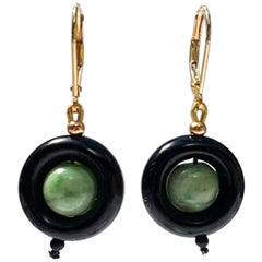 Marina J. Onyx Ring and Jade Earrings with 14 Karat Yellow Gold