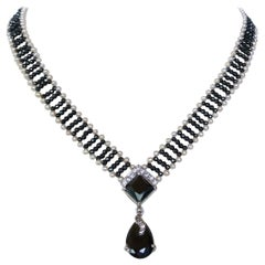 Marina J. Pearl and Hematite Necklace with Diamonds and 14 Karat Gold Clasp