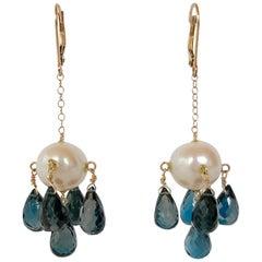 Marina J. Pearl and London Blue Topaz Earrings with 14 Karat Gold Lever-Backs