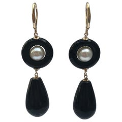 Marina J. Pearl and Onyx Drop Bead Earrings with 14 Karat Yellow Gold Lever-Back