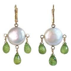 Marina J Pearl Coin and Peridot Drop Earrings with 14 Karat Gold