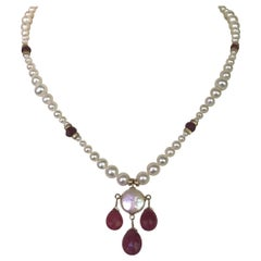 Marina J Graduated Pearl Necklace, Teardrop Rubies Beads & 14K Yellow Gold Clasp