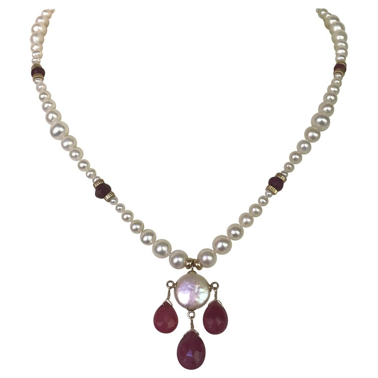 Marina J Graduated Pearl Necklace with Teardrop Rubies Beads and 14 K Gold Clasp For Sale