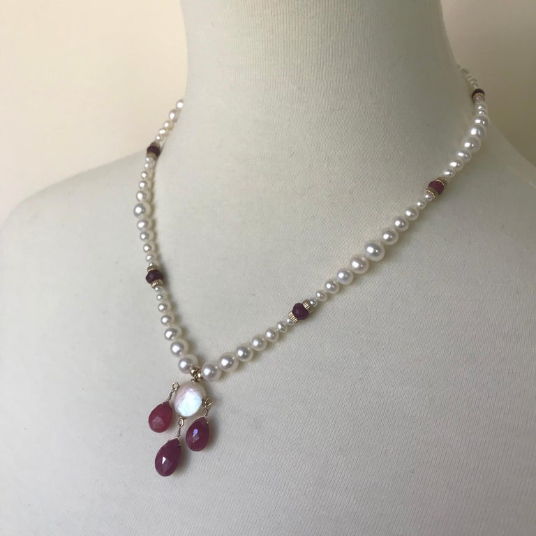 Artist Marina J Graduated Pearl Necklace with Teardrop Rubies Beads and 14 K Gold Clasp For Sale