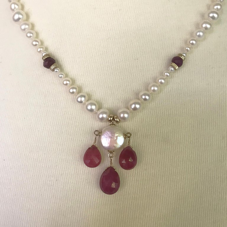 Marina J Graduated Pearl Necklace with Teardrop Rubies Beads and 14 K Gold Clasp In New Condition For Sale In Beverly Hills, CA