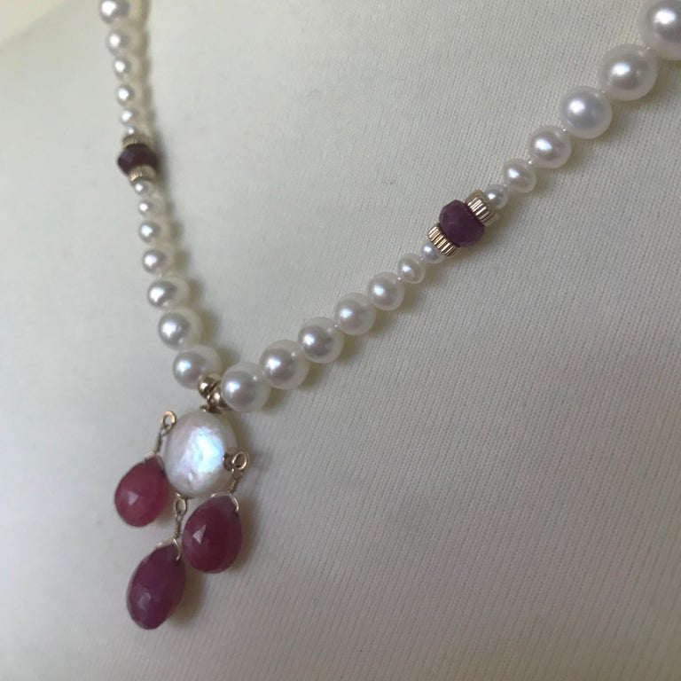 Women's Marina J Graduated Pearl Necklace with Teardrop Rubies Beads and 14 K Gold Clasp For Sale