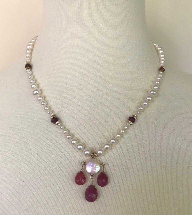 Marina J Graduated Pearl Necklace with Teardrop Rubies Beads and 14 K Gold Clasp For Sale 1