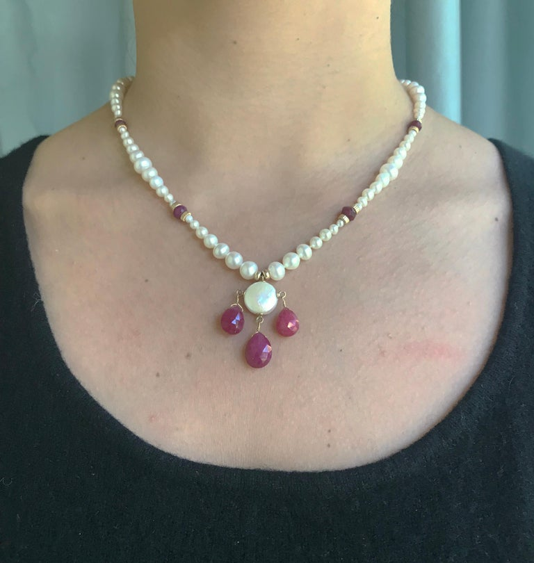 Marina J Graduated Pearl Necklace with Teardrop Rubies Beads and 14 K Gold Clasp For Sale 2