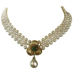 Marina J. Pearl Necklace with Vintage 14k Yellow Gold and Emerald Center-Clasp