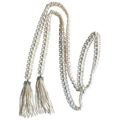 Marina J. Pearl Sautoir with Seed Pearl Tassel and Silver Rhodium-Plated Cup