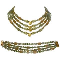 Marina J. Peridot, Citrine and Lemon Quartz Multi Piece Necklace and Bracelet
