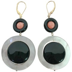 Marina J. Pink Coral, Black Onyx, Mother of Pearl Earrings with 14k Yellow Gold
