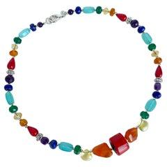 Marina J Rainbow Unisex Necklace of Multicolored Semiprecious beads
