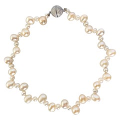 Marina J. Real Pearl Pet Necklace/Collar with Silver Magnetic Ball Clasp