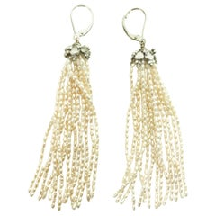 Marina J. Rice-Shaped Pearl Tassel Earrings with 14 Karat White Gold Lever-Back