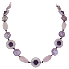 Marina J. Rose Quartz, Amethyst and Silver Rhodium-Plated Beaded Necklace