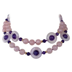 Marina J. Rose Quartz and Amethyst Necklace with Gold-Plated Silver Toggle Clasp