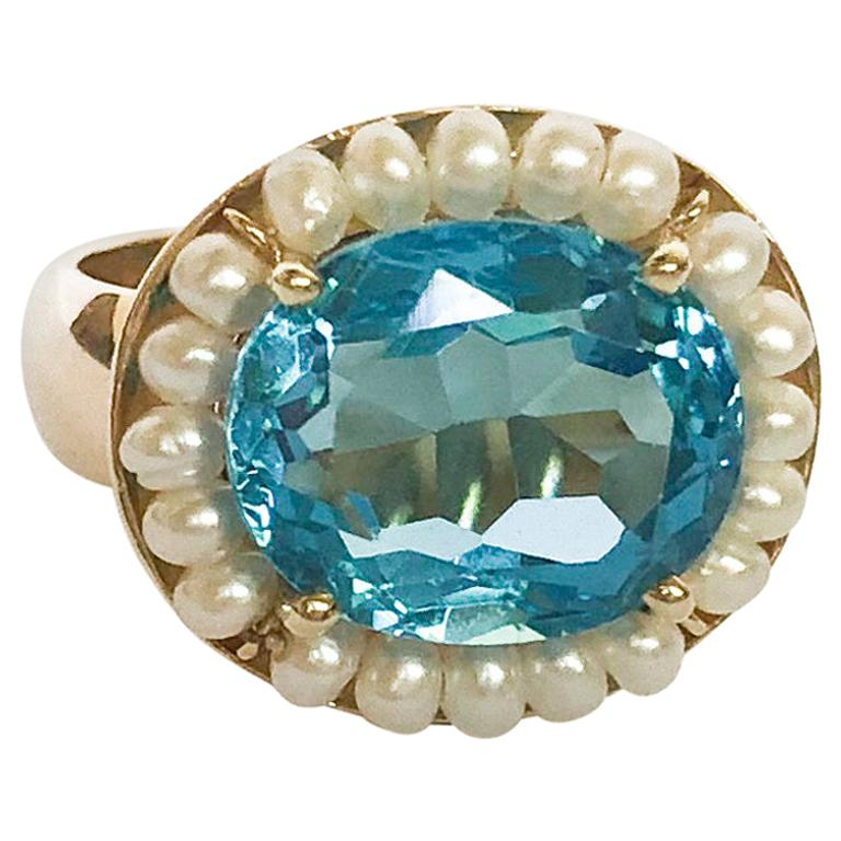Marina J. Sky Blue Topaz Ring with Seed Pearls and 14 Karat Gold Band For Sale