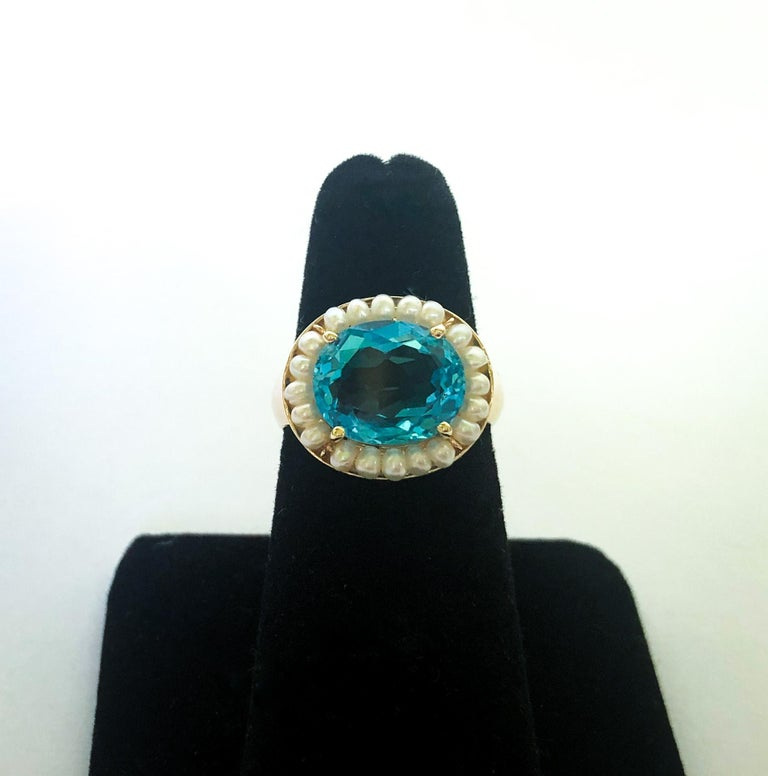 Women's Marina J. Sky Blue Topaz Ring with Seed Pearls and 14 Karat Gold Band For Sale
