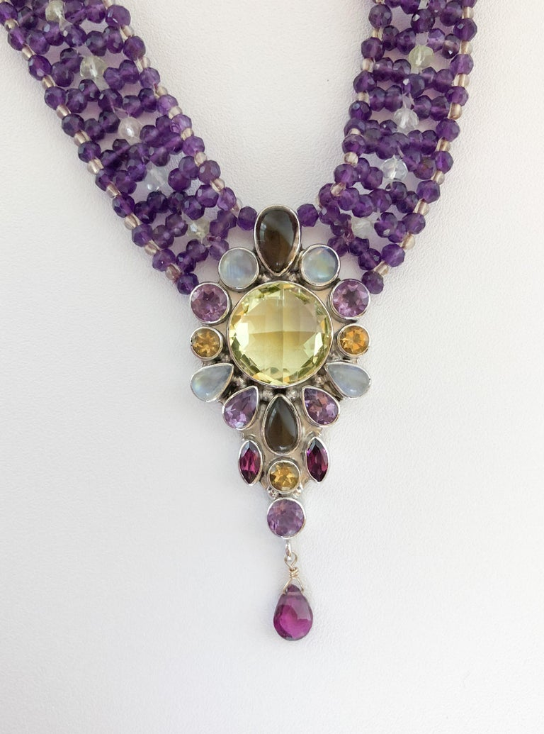 Artisan Marina J. Stunning Amethyst Woven Necklace with Garnet, Citrine, Topaz and Opal