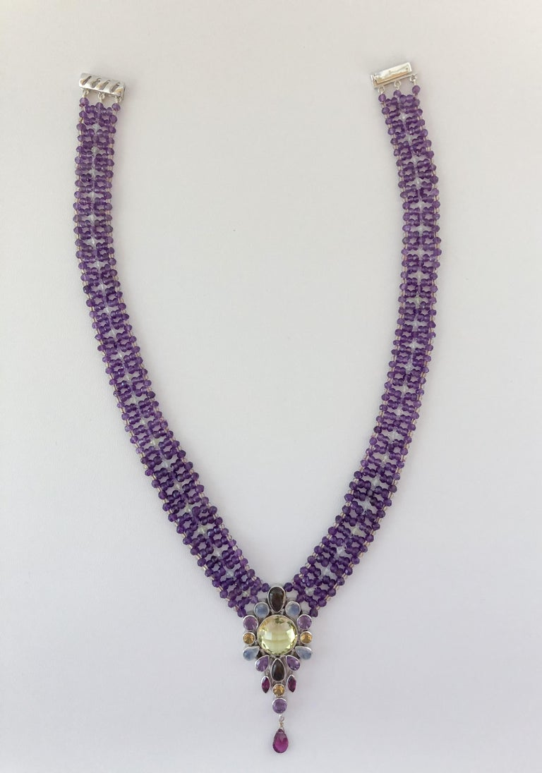 Brilliant Cut Marina J. Stunning Amethyst Woven Necklace with Garnet, Citrine, Topaz and Opal