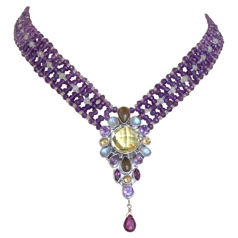 Marina J. Stunning Amethyst Woven Necklace with Garnet, Citrine, Topaz and Opal