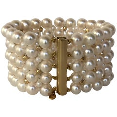Marina J Stunning Woven Pearl Bracelet with 14 Karat Yellow Gold Beads and Clasp