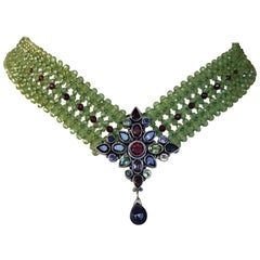 Marina J. Stunning Woven Peridot and Garnet Necklace & Multicolored Centerpiece