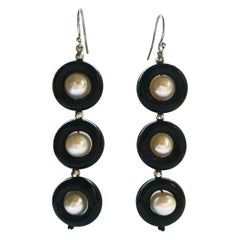 Marina J Triple Black Onyx and Pearl Earrings with 14 Karat Gold Hook and Wiring