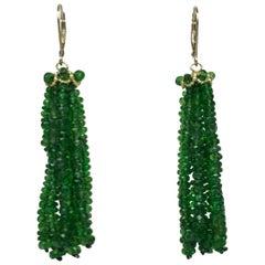 Marina J. Tsavorite Beads and 14 Karat Yellow Gold Tassel Earrings