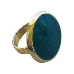 Marina J. Turquoise Color Enamel Ring with Sterling Silver & 14 Karat Gold Band
