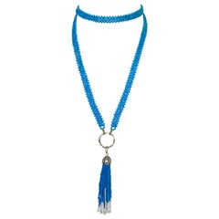 Marina J Turquoise Woven Sautoir  Necklace with Pearls and 14 K Yellow Gold