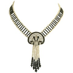 Marina J. Unique Diamond, Black Diamond, Pearl and 14 Karat Gold Woven Necklace