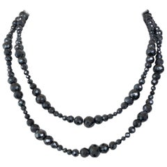 "Marina J. Vintage Black Spinel Beaded ""Downtown Abbey"" Inspired Necklace"